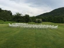 The ceremony circle with circular rows. 135 chairs and plenty of room for more!