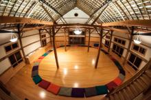 "Made to order for the ""elegant, rustic barn wedding."" Also great for the wedding ceremony in case of rain, for off-season weddings, and for the wedding after-party. The stunning bamboo floor makes this a no shoes space. However, for a modest fee ($300) clients who wish to use it with shoes can rent floor coverings to go over the bamboo."